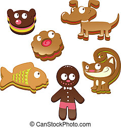 cute christmas gingerbread cookies isolated on white background
