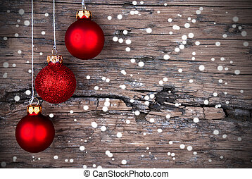 Christmas Decoration with Snow - Three Red Christmas Balls...