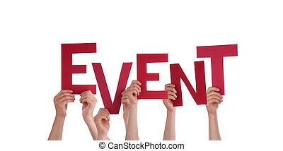 evento, segurando, mãos
