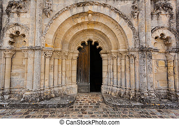 Full view main door of Petit Palais et Cornemp romanesque...