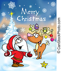 Merry Christmas greeting card, funny santa claus and...