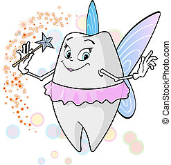 Tooth fairy with magic wand - A flying cute tooth fairy with...