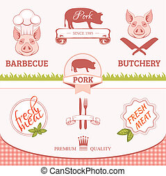 pork, pig, bacon - pork, pig, animal silhouette, product...
