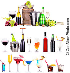 different alcohol drinks set - beer, wine, cocktail, juice,...