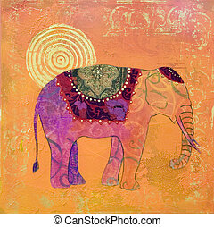 elephant painting - acrylic painting, artwork; artwork is...