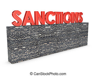 sanctions - brick wall on top of which is the inscription:...