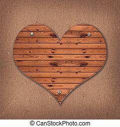 心, 古い, 木製である, 上に, 背景, 形, 机, ボール紙