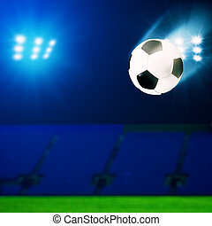 Flying soccer ball over green field, abstract sport...