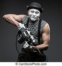 mime with hammer drill - funny aggressive mime holding...