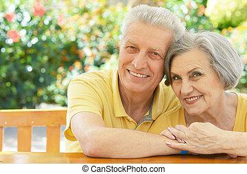 beautiful elderly couple - Portrait of beautiful elderly...
