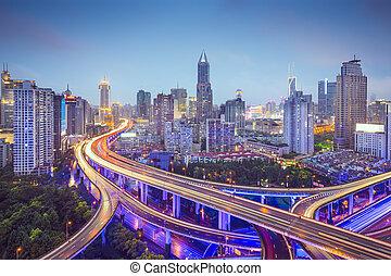 Shanghai Highways - Shanghai, China aerial view over...