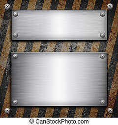 Industrial grungy steel plate with black and yellow strip...
