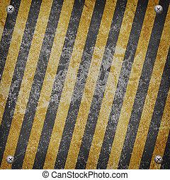 Industrial grungy steel plate with black and yellow strip