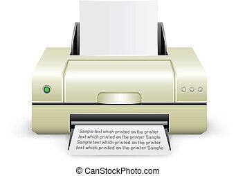 white printer icon - The white inkjet printer on the white...