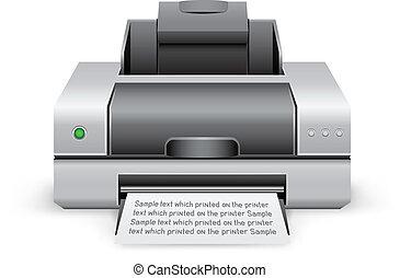 printer icon - The black inkjet printer on the white...