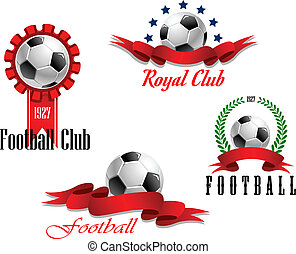 Four football and soccer emblems - Four different football...