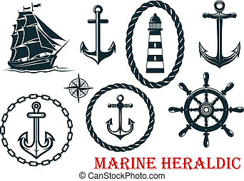 Marine and nautical heraldic elements - ropes, lighthouse,...