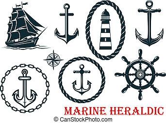 Marine and nautical heraldic elements - ropes, lighthouse,...