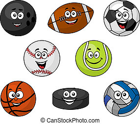 Set of cartoon sports equipment with a bowling ball, rugby...