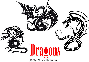 Black danger dragons in tribal style for tattoo, mascot or...