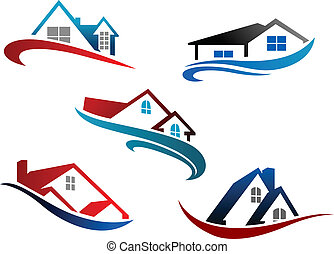 Set of real estate icons - Colorful roof of houses with...