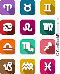 Flat icons with zodiac elements of twelve colorful icons on...