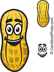 Happy little cartoon peanut or ground nut