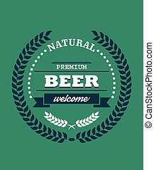 Natural Premium Beer label with a laurel wreath enclosing...