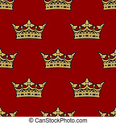Golden crown seamless background pattern