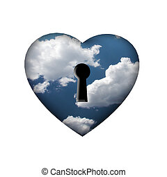 Freedom Key - Heart with key in clouds