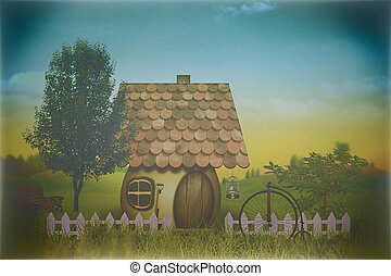 beauty farm with little house and bike, abstract grungy backgrou