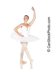 Young caucasian ballerina girl wearing a tutu on white...