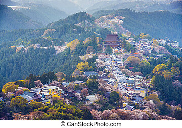 Yoshinoyama, Japan at twilight during the spring