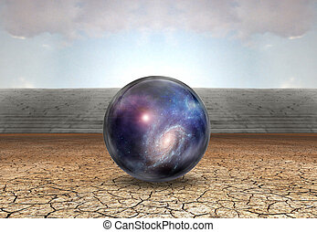 Sphere with stars and space