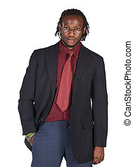 Handsome African businessman in colorful suit wearing...
