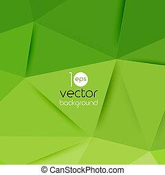 vector, Extracto, geométrico, verde, Plano de fondo,...