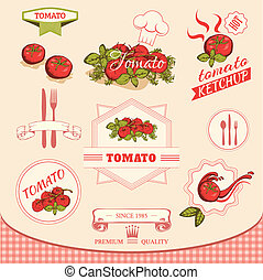 tomato vegetables, product label packaging design