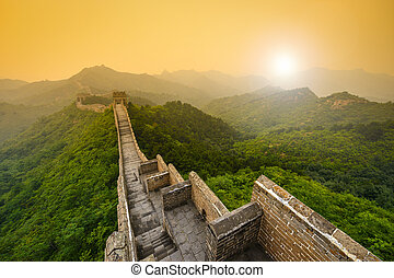 Great Wall of China. Unrestored sections at Jinshanling.