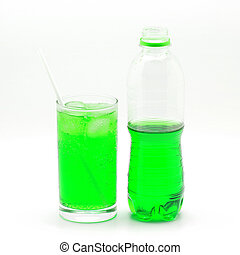 green soft drink isolated on white background