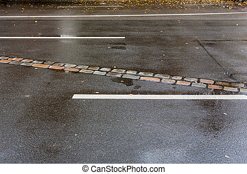 Track on the road of Berlin wall - Track of berlin wall on...