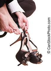 Work stoppage. Tired businesswoman massaging feet - Work...