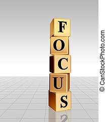 golden focus with reflection - 3d golden cubes with text -...
