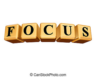 golden focus isolated - 3d golden cubes with text - focus,...