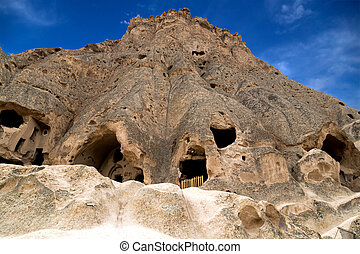 mountain landscape Turkey - cave houses of Cappadocia and...