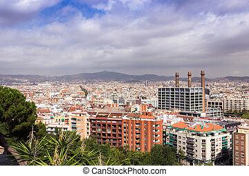 Barcelona - Aerial cityscape Barcelona Spain