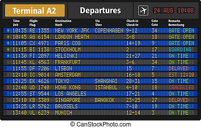 Airport departure board - Creative abstract business travel...