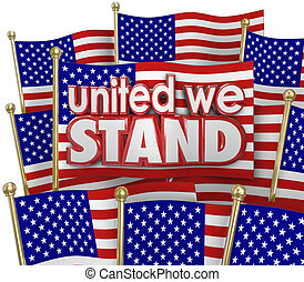 United We Stand American Flags USA Unity Motto Together -...
