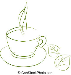 Green tea - Doodle sketch of green tea cup isolated on white...