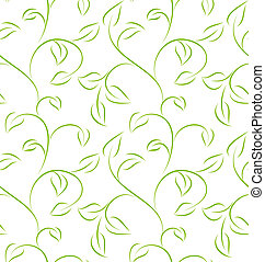 Seamless pattern - Seamless green leafy pattern on white...