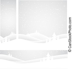 Set of banners Snow covered wintery scene Snow falling over...